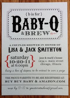 Western BBQ Baby Shower Invitations with Custom by YourTimeToShine