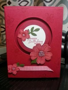 SU Flower Shop, Petite Petals, circles framelit dies -Flower spinner (MayStampin' Up!petite petals handmade card from Beth's Paper Cuts: Flower spinner . luv the monochromatic red colors .Flower Spinner Card (Card by Beth Rush using Stampin Up produc Birthday Cards For Women, Handmade Birthday Cards, Happy Birthday Cards, Greeting Cards Handmade, Card Birthday, Birthday Wishes, Fancy Fold Cards, Folded Cards, Slider Cards