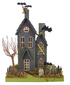 """Make a Haunted Halloween vignette with our putz paper Haunted Halloween House. - 9.5"""" x 6.5"""" x 14"""" tall. - Pressed paper house with moss. - Imported."""