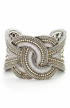John Hardy Pavé Diamond Twisted Cuff Bracelet