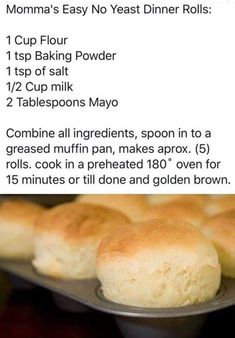 Quick Bread Recipes without Yeast Best Of Momma S Easy No Yeast Dinner Rolls Quick Dinner Rolls, No Yeast Dinner Rolls, Dinner Rolls Recipe, No Yeast Rolls, Homemade Dinner Rolls, Roll Recipe, Bread Rolls, Biscuit Bread, Biscuit Recipe