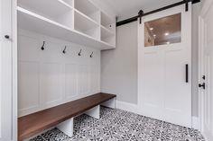 Mudroom with custom shelves and a modern style white barn door. Closet Doors, Garage Doors, Barn Doors, Mudroom, Contemporary, Modern, Shelves, Space, Interior