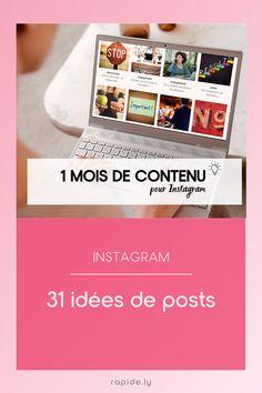 1 mois de contenu pour Instagram Application Pour Instagram, Ton Opinion, Social Media Tips, 1 Month, Organization, Life