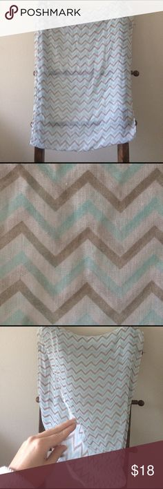 Grey and Teal Chevron Infinity Scarf Beautiful Teal, Grey, and White Chevron Infinity Scarf. Gauzy and Lightweight! Accessories Scarves & Wraps