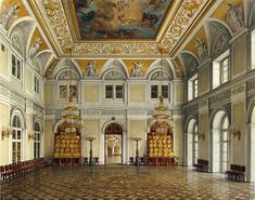 Interiors of the Winter Palace. The Anteroom - Konstantin Andreyevich Ukhtomsky - Drawings, Prints and Painting from Hermitage Museum