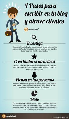 4 Pasos para escribir en tu Blog y atraer Clientes #infografia #infographic #socialmedia | TICs y Formación