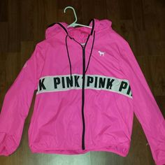 VS Pink Anorak Hot pink windbreaker from VS Pink! Super cute, but sadly not my style. Perfect for summer, looks adorable as a swimsuit cover up! Runs really big for an xs, i normally wear a medium and it fits loosely. WILL TRADE FOR PINK TANK TOPS, NIKE WORKOUT ATTIRE AND SHOES, OR UNDER ARMOUR DRY FIT SHORTS PINK Victoria's Secret Jackets & Coats