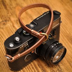 Thick Leather Camera Wrist Strap for the Minimalist Shooter with Linen Stitching.  BROWN/GABARDINE OR ECRU