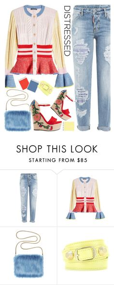 """""""Distressed Denim"""" by sweet-designs ❤ liked on Polyvore featuring Dsquared2, Alexander McQueen, Balenciaga and Gucci"""
