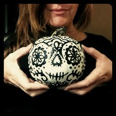 Puff paint + white crafting pumpkin = Day Of The Dead Pumpkin | by beans + ink, via Flickr