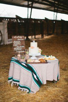 dessert table, photo by Inkspot Photography http://ruffledblog.com/mexican-ranch-wedding-ideas #weddingideas #cincodemayo #desserttables