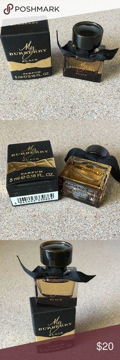 Burberry My Burberry Black Perfume. BNIB! Burberry My Burberry Black Perfume. BNIB & authentic. Travel size/ .16 oz.  This has a captivating scent of sun Drenched Jasmine flower & Peach nectar with a touch of roses. It has a deep & captivating Finish. No trades. Thanks Burberry Other