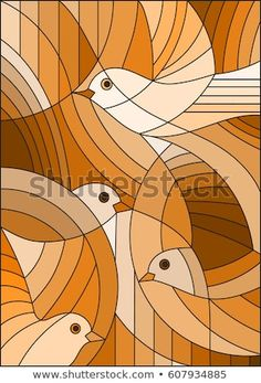 Vetor stock de Illustration Stained Glass Style Abstract Birds (livre de direitos) 607934885 Illustration in stained glass style with abstract birds ,Sepia,tone brown, Stained Glass Patterns, Mosaic Patterns, Folk Art Flowers, Batik Art, Art Corner, Abstract Canvas Art, Art Deco Design, Illustration, Fabric Painting