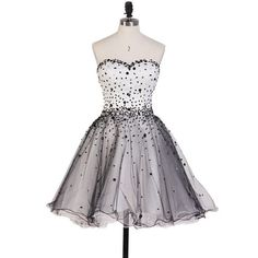 Beautiful Princess Sweetheart Homecoming Dresses, Black and White Homecoming Dresses with Sparkly Beads, Short Tulle Homecoming Dresses, #020102560