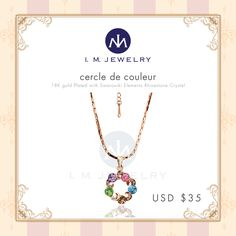 Discover how this terrific piece can elevate the look of your ensemble and help you feel gracefully beautiful at any occasion. Fashioned with a durable chain that fits comfortably, this necklace showcases the brilliance of the crystal pendant, plated with 18K gold, and displaying the shimmer of t...
