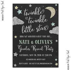 Twinkle Twinkle Little Star Invitation - Gender Reveal - Baby Shower - Birthday…