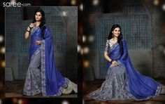 BLUE AND GREY LYCRA SAREE WITH EMBROIDERY WORK