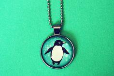 glass PENGUIN NECKLACE by boygirlparty, penguin glass pendant necklace, penguin jewelry.