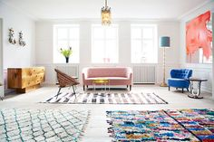 flat in central Copenhagen was restored beautifully by Tina Seidenfaden Busck and Pernille Hornhaver, who now use it not to live in, but to showcase their amazing inventory of objet d'art, textiles, rare vintage home furnishings and madly cool accessories