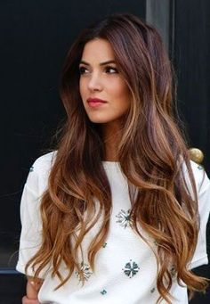 25 Best Hairstyle Ideas For Brown Hair With Highlights: long wavy hair with reddish-brown lowlights and caramel highlights