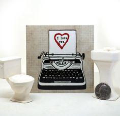 Typewriter Love Ceramic Tile by tamarakraft on Etsy