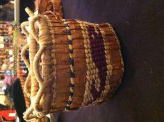 """Cedar-weaved basket - """"whale hunt"""""""
