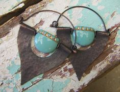 Hammered Copper Spade Earings with Turquoise Glass door annamei, $36.00