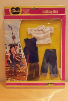 1980 Sindy doll clothes, MIB, 'Holiday Girl',ref jeans,tie & boots Vintage Barbie, Vintage Dolls, Sindy Doll, Fur Wrap, Night Outfits, Barbie Clothes, Fashion Dolls, Patches, Childhood