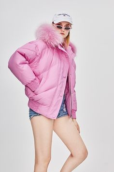 Jazzevar Winter High Fashion Street Designer Brand Womens Short Duck Down Jacket Cute Pink Color Real Fur Outerwear Pink Puffer Coat, Duck Down Jacket, White Ducks, Cute Pink, Pink Color, Pretty Girls, High Fashion, Branding Design, Winter Jackets