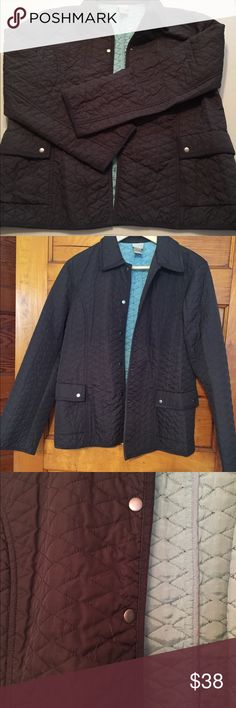 Sigrid Olsen Quilted Jacket size Large Beautiful charcoal brown quilted jacket with turquoise interior. Lightly worn and in great condition. Sigrid Olsen Jackets & Coats