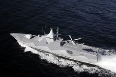 Swedish Visby-Class corvette, operational stealth ship, powered with silent waterjets and made with non-magnetic composite materials.