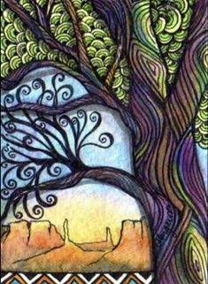Custom card made for a personal trade at Illustrated ATCs. Wicca, Family Tree Maker, Sharpie Art, Sharpies, Zen Colors, Flower Doodles, Tree Patterns, Exotic Plants, Leaf Art