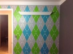 Painted Argyle Wall « Pin There, Done That