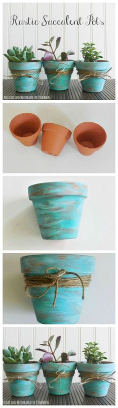 Love this simple DIY for these beautiful Rustic Succulent Pots.: