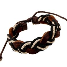Black & White Braided Handmade Rope Leather Bracelet