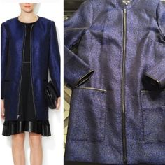SALE NWOT Alex+Alex Blue Metallic Long Coat  XS NWOT Alex + Alex light weight dark blue base with black shimmer pattern, lined jacket. Leather edge accents at pockets, cuffs & zipper. 2 large front pockets, light shoulder pads, zipper front.  Too snug across my chest, sad to let this go!  SZ XS, measurements lying flat (inch) Length 32 Sleeve length 23 Bust 18 Waist 19  Pictures are of item for sale. Pic of model is an  image from online for color reference / styling.  Feel free to ask…