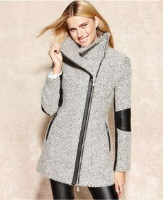 Calvin Klein Coat, Faux-Leather-Trim Heathered on shopstyle.com