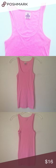 VS 💕 Basic Pink Tank Top (XS) Simple closet essential. In great condition, lightly worn, minimal signs of wear. Cotton/polyester/spandex blend. Measurements available upon request. Comes from a clean, smoke-free home.   Please ask any questions before purchasing. OFFERS ARE WELCOME. Thanks for visiting! PINK Victoria's Secret Tops Tank Tops