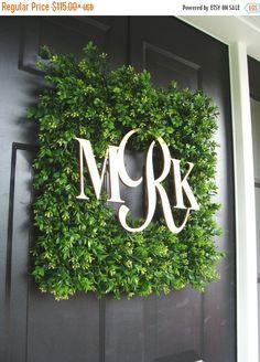 FALL WREATH SALE Square Monogram Boxwood Wreath, Boxwood Monogram Wreath, Outdoor Spring Wreath, Housewarming Gift, Wedding Wreath 20 Inch s