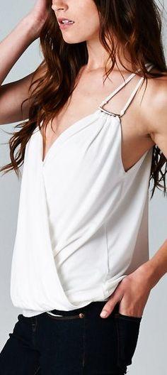 Sophia Surplice Top in White