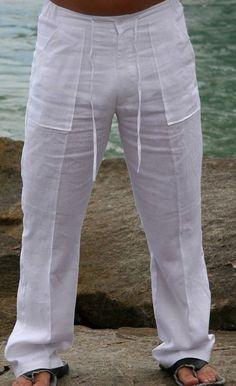 Drawstring Pants for men Linen Beach pants. Linen Pants Outfit, Linen Trousers, Linen Drawstring Pants, Well Dressed Men, White Pants, Mens Clothing Styles, Beach Pants, Summer Pants, Sexy Outfits