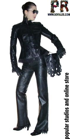 """№118 Black leather lace jacket for women """"Black blood"""" - Exclusive leather jackets&blazers. Women's clothes leather jackets from real python skin,genuine crocodile (alligator) hide skin, suit, coat, vest, dress of leather. Luxury Sheepakin. Mittens&Earmuffs fur red/silver fox, mink. Shop for jackets. Costumes for movie stars, concert, dance, show. Make to order luxury leather clothing."""