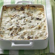 Artichoke Mushroom Lasagna Recipe from Taste of Home