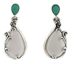 Carolyn Pollack Sterling Cascades Chrysoprase Earrings - QVC.com / white agate drops