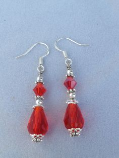 Red Crystal and Silver, Short Drop Earrings