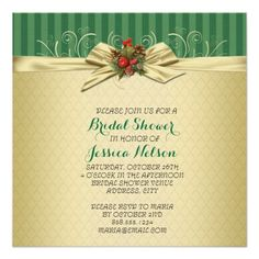 Gold Damask Christmas Ribbon Bridal Shower Personalized Announcement