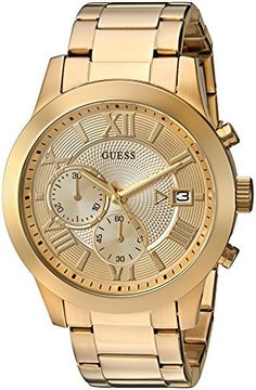 GUESS Men's U0668G4 Dressy Gold-Tone Stainless Steel Multi-Function Watch with Chronograph Dial and Deployment Buckle ** Click image for more details.