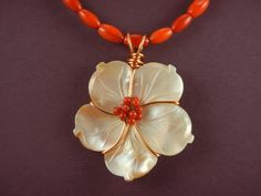 Mother of Pearl Flower and Coral Necklace