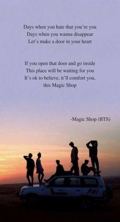 Magic shop by BTS lyrics wallpaper Magic shop by BTS lyrics wallpaper This i. - Magic shop by BTS lyrics wallpaper Magic shop by BTS lyrics wallpaper This image has get 241 re - Bts Song Lyrics, Bts Lyrics Quotes, Bts Qoutes, Music Quotes, Music Lyrics, Art Music, Quotes Quotes, Bts Begin Lyrics, Drama Quotes