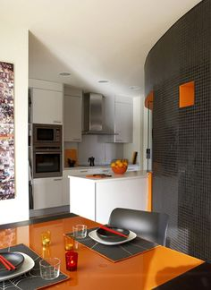 I'm loving this shade of orange with the charcoal gray.